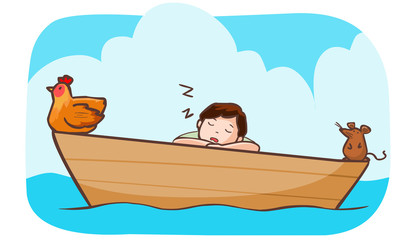 man sleep on the boat with hen and rat