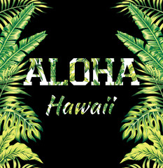 Aloha Hawaii tropical mirror print