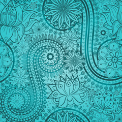 Vintage floral motif ethnic seamless background.
