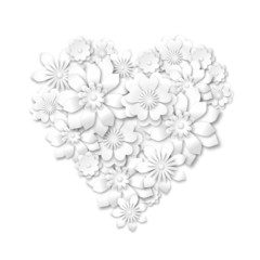 heart shape composed from white flowers