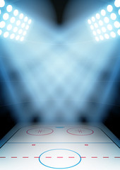 Background for posters night ice hockey stadium