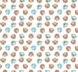 Tileable pattern with cute blue and brown owls on white