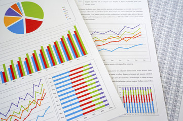 Colorful charts and spreadsheet