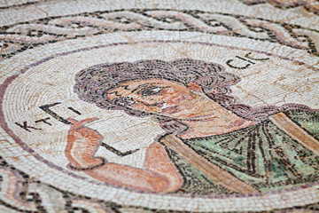Fragment of ancient religious mosaic in Kourion, Cyprus