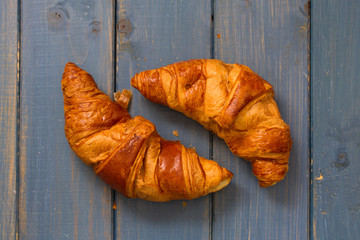 croissants on blue background