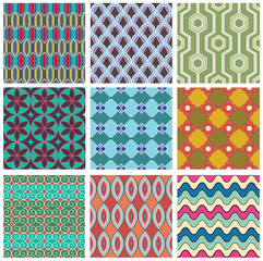 Set of geometric seamless pattern.