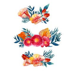 Vector watercolor floral wreath set with vintage leaves and