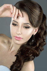 Portrait of a beautiful woman in a wedding dress in the image of