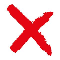X - Red cross handwritten vector illustration