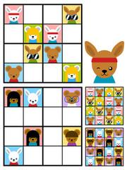 Kids sudoku puzzle with cartoon animal heads