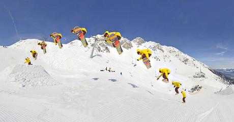 Snowboarder Sprungsequenz Wall mural