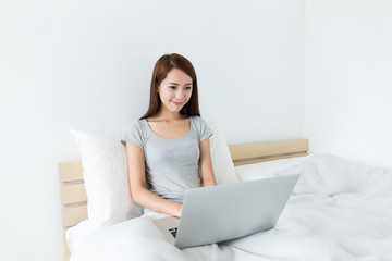 woman use the laptop computer