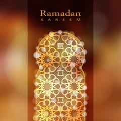 Ornamental mosque window with bokeh lights, Ramadan vector