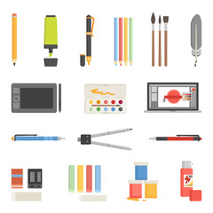 Drawing Tools Icons Flat Set