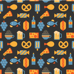 Food and drink pattern, flat style