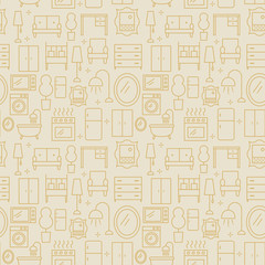 Furniture abstract pattern, outline style