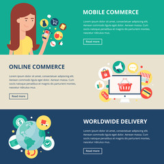 Shopping and internet commerce banners: mobile commerce, online