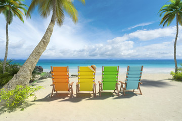 Colorful chairs on the beach