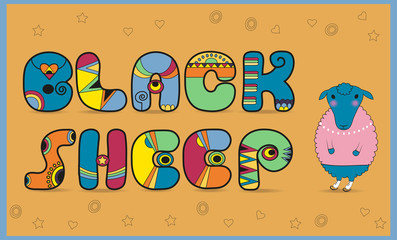 Inscription Black Sheep. Colored Letters