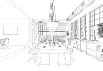 Entwurf Großraumbüro im Loft