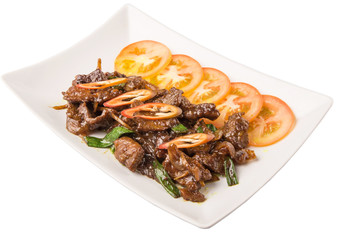 Malaysian dish stir fried beef meat with oyster sauce