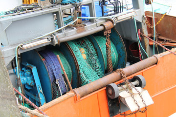 The Nets and Gear of a Fishing Trawler Boat.
