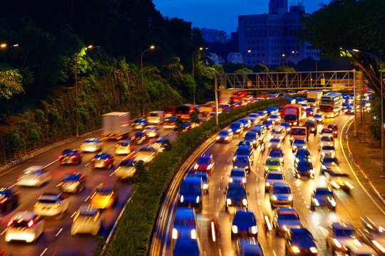 heavy traffic moving on the road in twilight, Kuala Lumpur