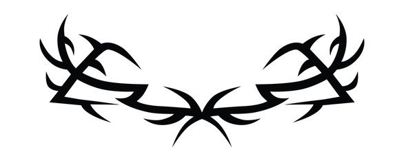 Tattoo tribal lower back vector design template. Simple black logo ornament. Designer isolated element on white background for decorating the body of women and girls waist, back and stomach.
