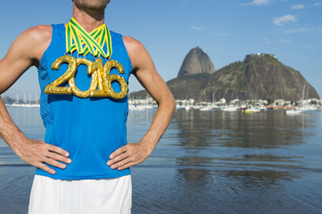 Gold Medal 2016 Olympic Athlete Standing Botafogo Beach