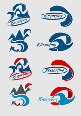 set of logos about kitesurfing