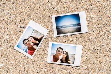 Polaroid Instant Photos Of Young Couple On The Beach