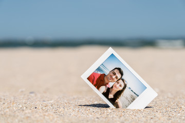 Polaroid Instant Photo Of Young Couple On The Beach
