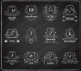 Monogram shields chalkboard set