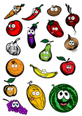 Funny cartoon fruits and vegetables characters