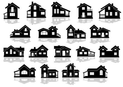 Black silhouettes of houses and cottages