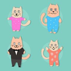 Set of funny kittens. flat illustrations