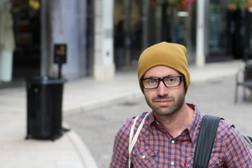 35 years old hipster with eyeglasses