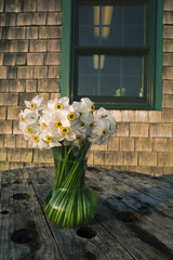 Flowers in a vase in Menemsha Massachusetts on Martha's Vineyard