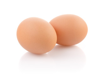 Two Brown Eggs on white