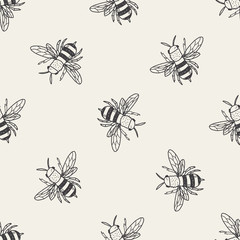 bee doodle seamless pattern background