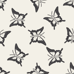 butterfly doodle seamless pattern background