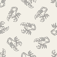 Scorpion doodle seamless pattern background