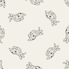 cat doodle drawing seamless pattern background