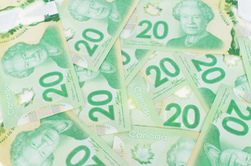 Green twenty bank notes forming a nice background