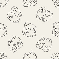 dog doodle seamless pattern background