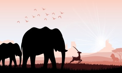 Elephant family with deer and birds. Vector
