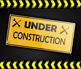 Under construction sign background black. Vector