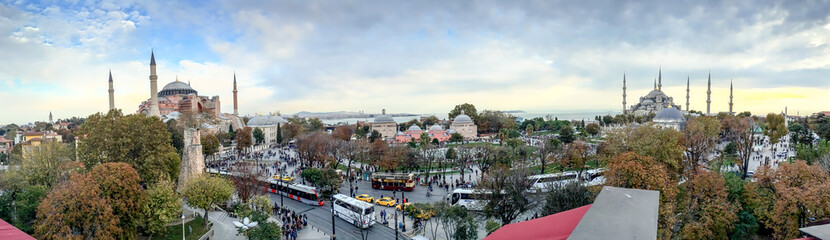 ISTANBUL - SEPTEMBER 21, 2014: Tourists enjoy city life in Sulta