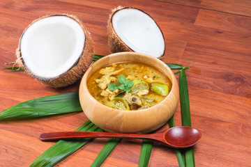 Green pork Curry and Coconut