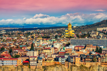 Wall Mural - Beautiful panoramic view of Tbilisi at sunset, Georgia country